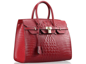 Angled View Of The Dark Red Leather Handbag For Ladies