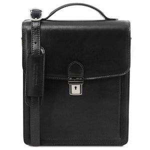 Front View Of The Black Leather Crossbody Bag Large