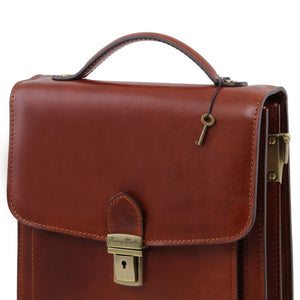 Front Key And Lock View Of The Brown Leather Crossbody Bag Large