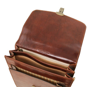 Internal Compartment View Of The Brown Leather Crossbody Bag Large