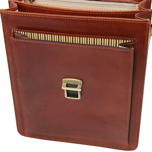 Front Pocket View Of The Brown Leather Crossbody Bag Large