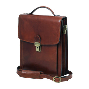 Angled View Of The Brown Leather Crossbody Bag Large