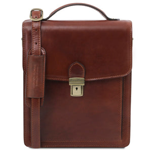 Front View Of The Brown Leather Crossbody Bag Large