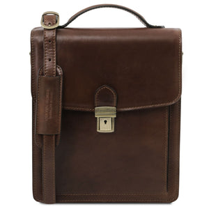 Front View Of The Dark Brown Leather Crossbody Bag Large