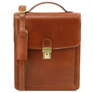 Front View Of The Honey Leather Crossbody Bag Large