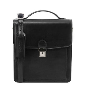 Front View Of The Black Leather Crossbody Bag Small