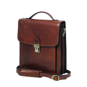 Side View Of The Brown Leather Crossbody Bag Small