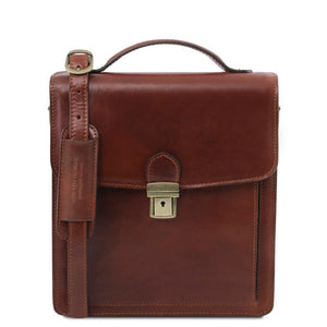 Front View Of The Brown Leather Crossbody Bag Small