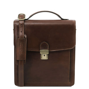 Front View Of The Dark Brown Leather Crossbody Bag Small