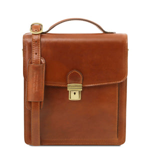 Front View Of The Honey Leather Crossbody Bag Small