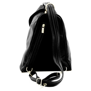 Rear View Of The Black Stylish Backpack