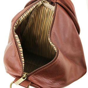 Internal View Of The Brown Stylish Backpack