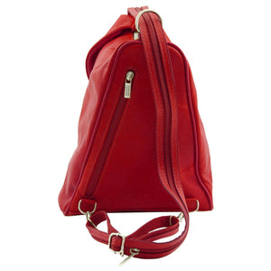 Rear View Of The Red Stylish Backpack