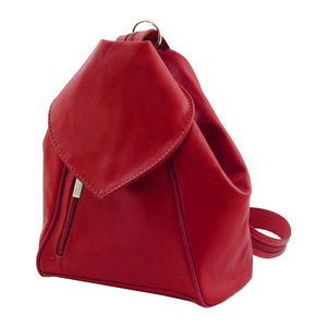 Angled View Of The Red Stylish Backpack