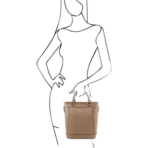 Women Posing With The Light Taupe Demetra Leather Ruga Handbag