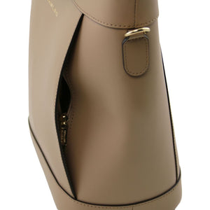 Right Side View Of The Light Taupe Demetra Leather Ruga Handbag