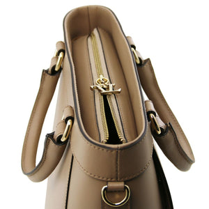 Top Zip Closure View Of The Light Taupe Demetra Leather Ruga Handbag