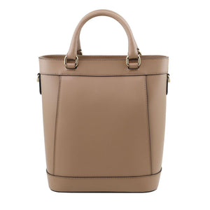 Rear View Of The Light Taupe Demetra Leather Ruga Handbag