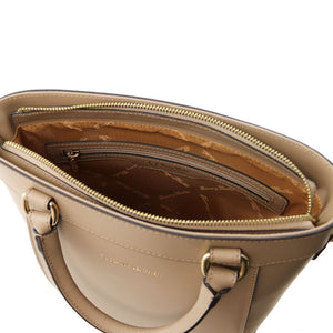 Internal Zipper Pocket View Of The Light Taupe Demetra Leather Ruga Handbag