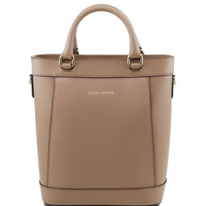 Front View Of The Light Taupe Demetra Leather Ruga Handbag