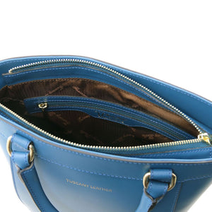 Internal View Of The Teal Demetra Leather Ruga Handbag
