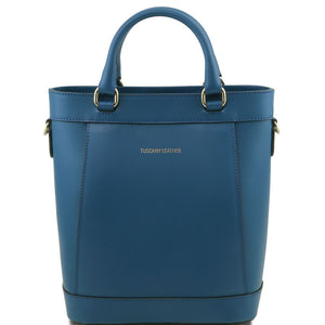 Front View Of The Teal Demetra Leather Ruga Handbag