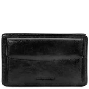 Front View Of The Black Mens Leather Wrist Bag
