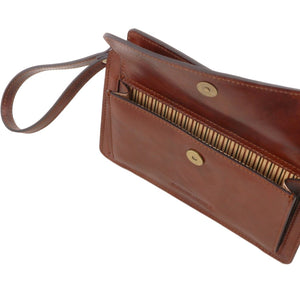 Front Pocket View Of The Brown Denis Mens Leather Wrist Bag