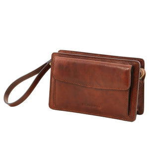 Side View Of The Brown Denis Mens Leather Wrist Bag