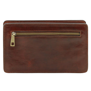 Rear View Of The Brown Mens Leather Wrist Bag