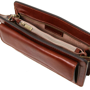 Internal View Of The Brown Mens Leather Wrist Bag