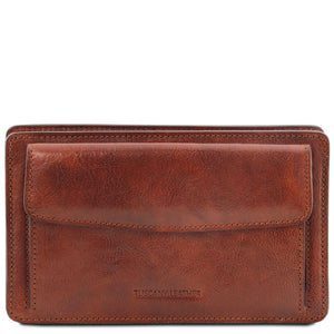 Front View Of The Brown Mens Leather Wrist Bag
