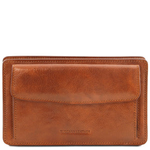 Front View Of The Honey Denis Mens Leather Wrist Bag