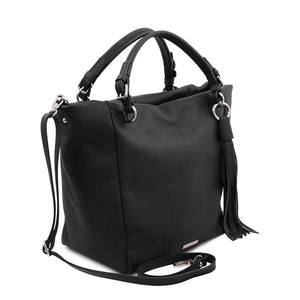 Angled And Shoulder Strap View Of The Black Designer Shopping Bag