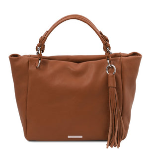 Front View Of The Cognac Designer Shopping Bag