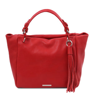 Front View Of The Lipstick Red Designer Shopping Bag