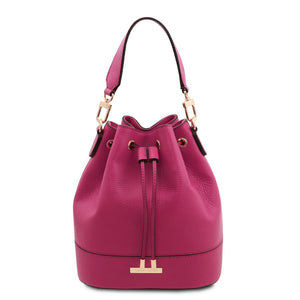 Front View Of The Fuchsia Drawstring Bucket Bag