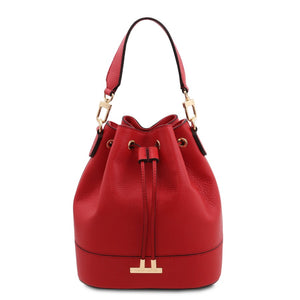 Front View Of The Lipstick Red Drawstring Bucket Bag