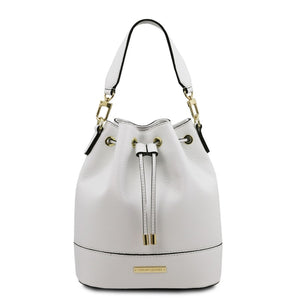 Front View Of The White Drawstring Bucket Bag