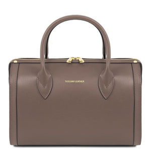 Front View Of The Dark Taupe Ladies Leather Duffle Bag
