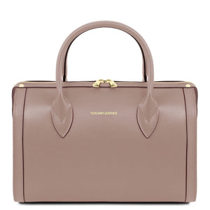 Front View Of The Taupe Ladies Leather Duffle Bag