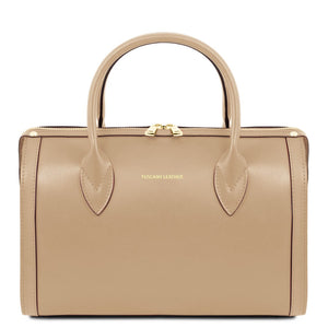 Front View Of The Champagne Ladies Leather Duffle Bag