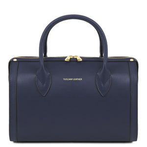 Front View Of The Dark Blue Ladies Leather Duffle Bag