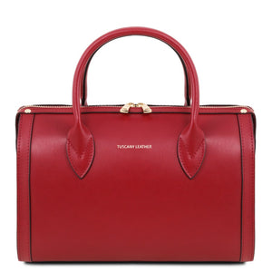Front View Of The Red Ladies Leather Duffle Bag