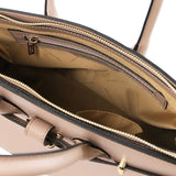 Internal Zip Pocket View Of The Taupe Ladies Handbag