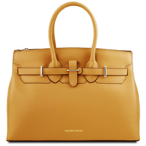Front View Of The Mustard Ladies Handbag