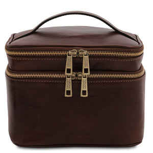 Front View Of The Dark Brown Travel Toiletry Bag