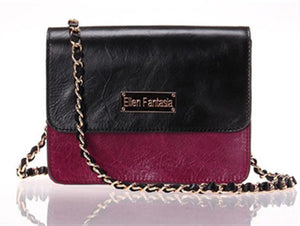 Front View Of The Black Burgundy Women's Small Leather Handbag