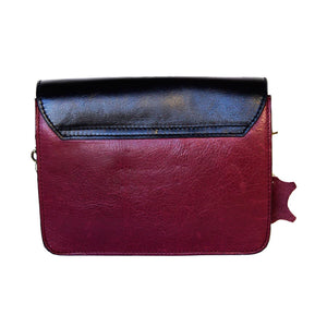 Rear View Of The Black Burgundy Women's Small Leather Handbag