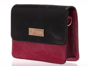 Side View Of The Black Burgundy Women's Small Leather Handbag